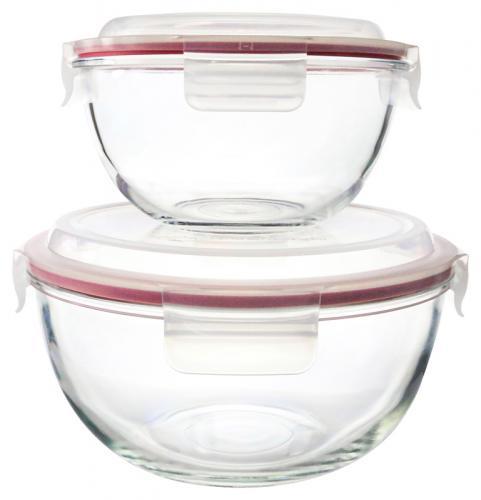2er Set Glasslock Bowl, Glasschüsseln rund