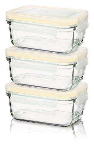 3er Set 150ml Glasslock Baby Meal rechteckige Frischhaltedosen