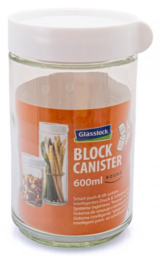 Glasslock Block Canister 600ml, stapelbares Aufbewahrungsglas